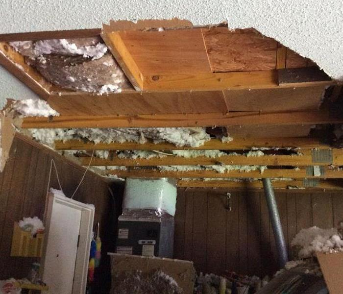 Storm caused damage in a garage
